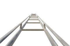 Chiuda sull'alta scala d'acciaio isolata su bianco Fotografia Stock Libera da Diritti