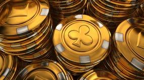 Chiuda sull'illustrazione 3D della pila dei chip del casinò dell'oro Immagini Stock