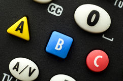Chiuda sull'immagine dei bottoni su telecomando Fotografia Stock