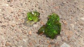 Chiuda sull'immagine verde circa il protoplasma di cristallo con colore verde smeraldo sui precedenti della sabbia e della ghiaia Fotografia Stock Libera da Diritti