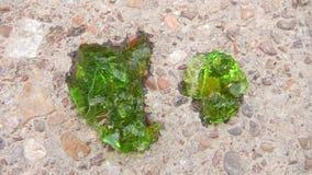 Chiuda sull'immagine verde circa il protoplasma di cristallo con colore verde smeraldo sui precedenti della sabbia e della ghiaia Immagine Stock