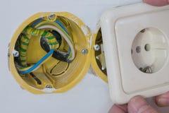 Chiuda sull'installazione di sistema di distribuzione elettrica nel nuovo buil Fotografia Stock Libera da Diritti