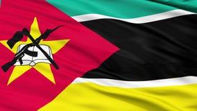 Chiuda sulla bandiera nazionale d'ondeggiamento del Mozambico stock footage