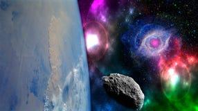 Chiuda sulla biosfera del pianeta Terra nello spazio con le stelle ed in galassia su fondo Elementi di questa immagine ammobiliat fotografia stock libera da diritti