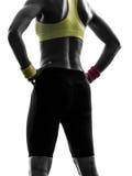 Chiuda sulla donna delle natiche che esercita la siluetta di allenamento di forma fisica Fotografia Stock Libera da Diritti