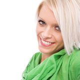 Chiuda sulla donna sorridente perfetta Fotografia Stock