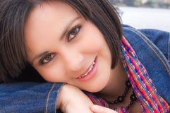 Chiuda sulla giovane donna Fotografia Stock