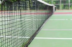 Chiuda sulla macro vista delle reti del tennis Fotografie Stock