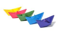 Chiuda sulla nave di origami Fotografia Stock Libera da Diritti