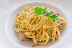 Chiuda sulla pasta italiana dei frutti di mare Fotografia Stock
