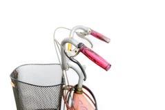 Chiuda sulla retro bicicletta disegnata del colpo isolata su un backgroun bianco Fotografia Stock