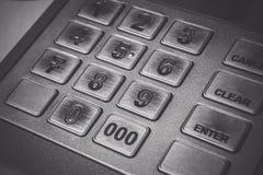 Chiuda sulla tastiera della macchina di EPP di BANCOMAT o sui bottoni dei contanti m. del Bancomat Fotografia Stock Libera da Diritti