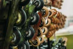 chiuda sulla vista dei pattini di rullo sistemati dentro all'interno fotografia stock libera da diritti