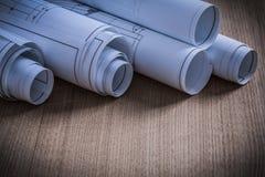 Chiuda sulla vista dell'architettura di piani della costruzione e del co di costruzione Fotografie Stock Libere da Diritti