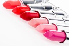 Chiuda sulla vista dell'insieme dei rossetti alla moda Fotografia Stock