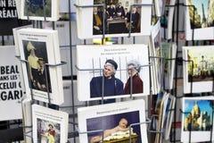 Chiuda sulla vista delle cartoline francesi Immagine Stock