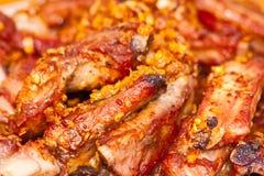 Chiuda sulla vista delle costole del barbecue Fotografie Stock