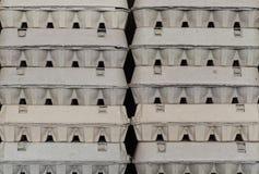 Chiuda sulla vista delle scatole delle uova sistemate del cartone Immagine Stock
