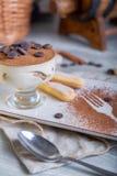 Chiuda sulla vista di bello dessert dolce elegante, tiramisù, servito sul piatto Bella decorazione, piatto del ristorante Immagine Stock
