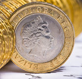 Chiuda sulla vista di valuta britannica Fotografia Stock