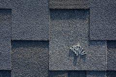 Chiuda sulla vista su Asphalt Roofing Shingles Background Assicelle del tetto - tetto Asphalt Roofing Shingles e chiodi Immagini Stock Libere da Diritti
