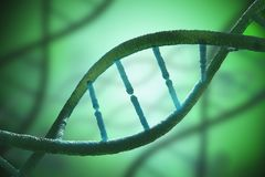 Chiuda sulla vista sulle molecole a spirale del DNA 3D ha reso l'illustrazione Immagine Stock