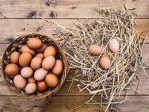 Chiuda sulla vista superiore di un canestro delle uova italiane fresche con fieno fotografia stock libera da diritti