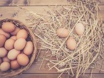 Chiuda sulla vista superiore di un canestro delle uova italiane fresche con fieno immagine stock