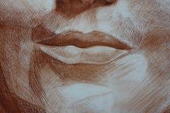 Chiuda sulle labbra dei pastelli della donna di una testa del ritratto immagine stock