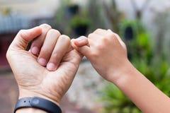 Chiuda sulle mani del figlio e del padre che si agganciano su mignolo che fa insieme la promessa fotografia stock