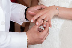 Chiuda sulle mani della sposa e dello sposo che mettono sull'le fedi nuziali Immagine Stock Libera da Diritti