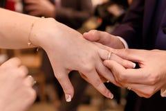 Chiuda sulle mani della sposa e dello sposo che mettono sull'le fedi nuziali Immagini Stock Libere da Diritti