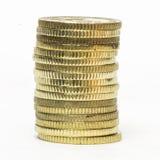 Chiuda sulle monete impilate Fotografie Stock