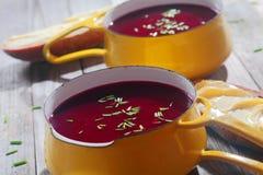 Chiuda sulle zuppe di barbabietola saporite sulla ciotola gialla Immagini Stock Libere da Diritti