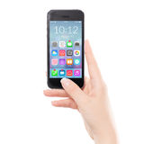 Chiuda sullo Smart Phone mobile nero con l'icona dell'applicazione variopinta Fotografia Stock