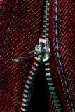 Chiusura lampo aperta - jeans rossi Fotografia Stock