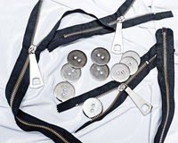 Chiusura lampo, bottoni, cucenti, mestieri Immagini Stock