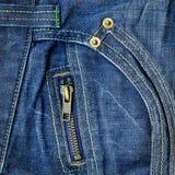 Chiusura lampo del metallo sui jeans Fotografia Stock Libera da Diritti