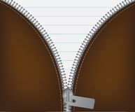 Chiusura lampo metallica bianca aperta dell'illustrazione di vettore Fotografie Stock