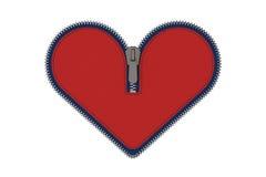 Chiusura lampo rossa del cuore isolata su bianco Immagine Stock Libera da Diritti