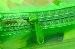 Chiusura lampo verde Fotografia Stock