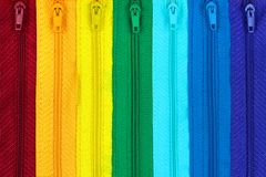 Chiusure lampo colorate arcobaleno Fotografia Stock