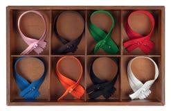 Chiusure lampo multicolori Fotografia Stock