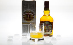 Chivas Regal Whisky. Isolated with glass and ice Stock Image