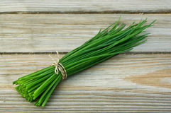 Chive. Fresh chive on wooden background stock photos
