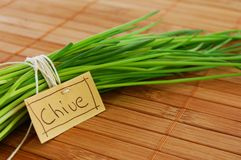Chive on mat. Chives with marker lie on a brown mat Royalty Free Stock Photography