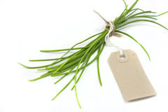 Chives and label Royalty Free Stock Photos