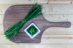 Chives on Wooden Board Royalty Free Stock Photo