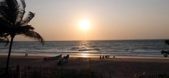 Chivla海滩日落 库存图片