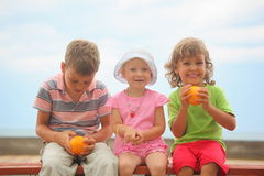 Chjildren with oranges sitting on wooden bench Royalty Free Stock Photo